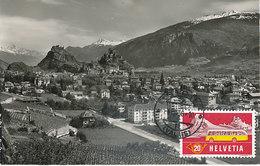 D33172 CARTE MAXIMUM CARD 1956 SWITZERLAND - CITY OF SION GENERAL VIEW CP ORIGINAL - Maximum Cards