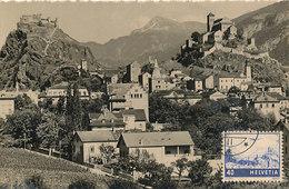 D33173 CARTE MAXIMUM CARD RRR 1949 SWITZERLAND - CASTLE CITY OF SION GENERAL VIEW CP ORIGINAL - Maximum Cards