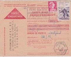 FRANCE 1957 CARTE CONTRE-REMBOURSEMENT DE COLMAR TIMBRE THEME RUGBY - 1921-1960: Modern Tijdperk