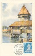 D33175 CARTE MAXIMUM CARD 1960 SWITZERLAND - LUZERN CHAPEL BRIDGE CP ORIGINAL - Bridges