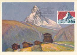 D33177 CARTE MAXIMUM CARD TRIPLE 1965 SWITZERLAND - MATTERHORN ZERMATT MOUNT CERVIN CP ORIGINAL - Cartes-Maximum (CM)