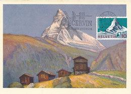D33178 CARTE MAXIMUM CARD TRIPLE 1965 SWITZERLAND - MATTERHORN ZERMATT MOUNT CERVIN CP ORIGINAL - Maximum Cards