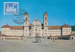 D33179 CARTE MAXIMUM CARD TRIPLE 1961 SWITZERLAND - MONASTERY EINSIEDELN KLOSTER CP ORIGINAL - Abbeys & Monasteries