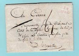 Dép.3 Départements Conquis MP 94 HAL  à Rebecq Le 1.01.1798 Pour Bruxelles - Marcofilie (Brieven)