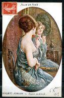 """CPA Signierte Collor Künstlerkarte Frankreich 1919""""Salon De Paris-Femme Au Miroir Von Vincent-Anglade,Henri  """"1 AK Used - Pin-Ups"""