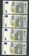 "GREECE ""Y"" NEW! Lot 4 Pieces Consecutive Numbers  ""Y""  5 EURO GEM UNC! Draghi Signatures! Printer Y005G1 !! - EURO"