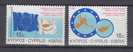 Zypern,   Europa-Mitläufer 1988 ,   Michel Nr:  693/94 ,  Zollabkommen Zyperns Mit Der EG   ** - Europäischer Gedanke