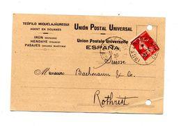 Carte Espagne Cachet Convoyeur Irun à Bordeaux Sur Semeuse - Marcophilie (Lettres)