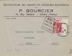 SENS - Daguin De 1935 - Postmark Collection (Covers)