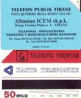 TARJETA TELEFONICA DE ALBANIA. URMET (080) ERROR, 50 COLOR DESPLAZADO - Albania