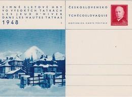 TCHECOSLOVAQUIE 1948 ENTIER POSTAL CARTE ILLUSTREE THEME JEUX D'HIVER - Postal Stationery
