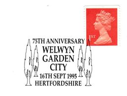 1995 WELWYN GARDEN CITY 75th Anniv  TREE EVENT COVER GB Stamps Trees - Trees