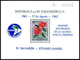 El Salvador 1963 Alliance For Progress Postage Souvenir Sheet Unmounted Mint. - El Salvador