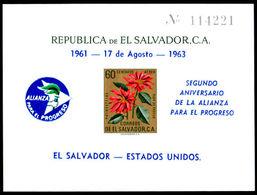 El Salvador 1963 Alliance For Progress Air Souvenir Sheet Unmounted Mint. - El Salvador