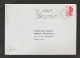 Flamme Dpt 63 : CHAMALIERES (SCOTEM N°  9927a Du 01/04/1989 => 31/03/1990) : Code 36 15 AUVERGNE (volcan Stylisé) DEVANT - Poststempel (Briefe)