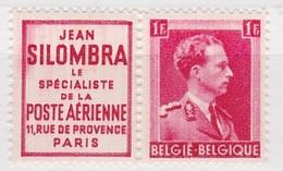 BELGIQUE TIMBRE AVEC VIGNETTE PUB - 1936-1957 Col Ouvert