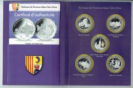 """FRANCE - Collection De 5 Medailles """" Richesses De Provence Alpes Cote D'azur """"  En Argent Pur 999°/°° - France"""