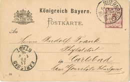 28059. Entero Postal NUERNBERG (Bayern) Bavaria 1883 A Karlsbad - Bavaria