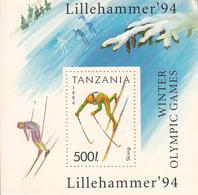 1994 Tanzania  Winter Olympics Lillehammer Skiing  Vultures  Souvenir Sheet MNH - Tanzania (1964-...)