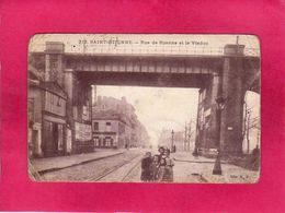 42 Loire, Saint-Etienne, Rue De Roanne Et Le Viaduc, Animée, 1915, (M. M.) - Saint Etienne
