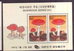 Korea 1997 M/S Plants Mushrooms Amanita Muscaria Fungi Plant Mushroom Nature CHAMPIGNONS Flora Stamps MNH (1) - Korea, South