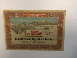 LOTTERY    ANKER BROT FABRIK  GESCHENKGUTSCHEIN   ös 25 - Lotterielose