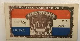 LOTTERY    Croatia  1976.  Emigracija   Hrvatsko Narodno Vijece - Lotterielose