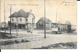 Westende - TRAM - Arrêt Du Tram électrique - Ed: Vattemare, Cambier - Circulé: 1906 - 2 Scans. - Westende