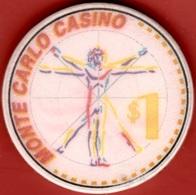 $1 Casino Chip. Monte Carlo, Imperial Majesty Cruise Line. B62. - Casino