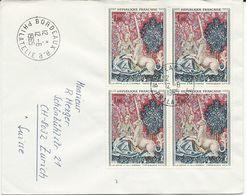 LETTRE 1965 POUR LA SUISSE AVEC BLOC DE 4 TIMBRES A 1 FR TAPISSERIE DAME A LA LICORNE - Poststempel (Briefe)
