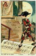 Chocolat Louit Jolie Chromo Chanson  Au Clair De La Lune   Au Dos Pub Et Notes De Musique - Louit