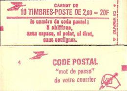 """CARNET 2274-C 2a Liberté De Delacroix """"CODE POSTAL"""", Fermé Conf. 5 Bas Prix Parfait état TRES TRES RARE - Definitives"""