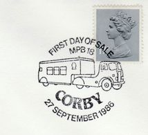 1986 CORBY MOBILE POST  OFFICE BUS LORRY EVENT COVER GB  Stamps - Post