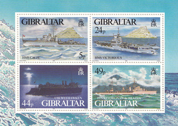 1995 Gibraltar World War II Naval Ships Navy Souvenir Sheet Complete MNH - WW2