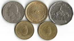 Lot 5 Pièces De Monnaie - Argentina