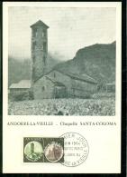 CM-Carte Maximum Card #1964-Valls D´Andorra-Andorre #Architecture # Chapelle Sainte-Coloma # Expo. Philatec´ - Cartes-Maximum (CM)