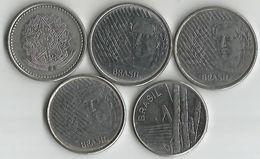 Lot 5 Pièces De Monnaie 5,10 Centavos 1 Et 500 Cruzeiros - Brazil