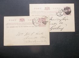 Victoria, Australia: 2 X 1890 Postal Card To Geelony, Etc. (#VB10) - 1850-1912 Victoria