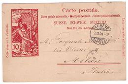 Cartolina Postale Inviata  A Milano Da Ginevra - Entiers Postaux