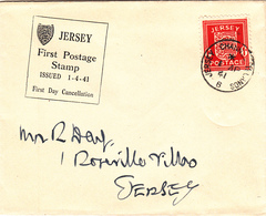 Jersey 1941 1d Arms On FDC With Caption 'Jersey First Postage Stamp' - Jersey