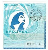 Mandat Postes France Specimen - Modèle Bleu Avec Cachet Ambulants Cours 1989 - Entiers Postaux