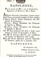 Napoleone, Regno D'Italia. Decreto Di Nomina A Consiglieri Di Stato Onorari. Anno 1807 - Decreti & Leggi