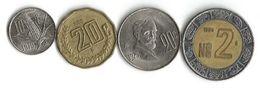 Lot 4  Pièces De Monnaie  10 , 20 Centavos Et  2 Nouveaux Pesos - Mexico