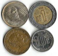 Lot 4  Pièces De Monnaie  5 ,  10 , 20 Centavos Et  1 Nouveaux Pesos - Mexico