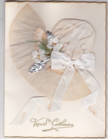 Exceptionnel Bonnet De Sainte Catherine Format 14,5 X 19,5 Tissu Ruban Collage Rare - Sint Catharina