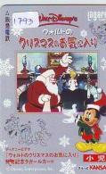 Carte Prépayée Japon * DISNEY * CHRISTMAS (1793) CINEMA * JAPAN PREPAID CARD - Disney