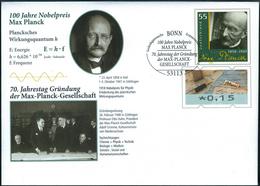 PLANCK, M. - Germany 2018 - Stationery, Ganzsache - FDC Bonn - 100 Years Nobel Prize - Physics, Physicist - Sciences