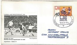 ALEMANIA 1974 FDC STUTTGART COPA MUNDIAL DE FUTBOL FOOTBALL WORLD CUP - Coppa Del Mondo
