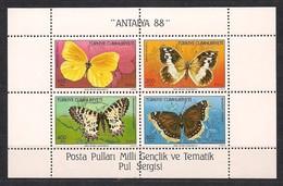 Turkije Turquie 1988 Yvertn° Bloc 28 *** MNH  Cote 32,50 Euro Fauna Papillons Vlinders Antalya '88 - 1921-... République
