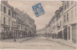 Cpa,albertville ,savoie En 1905,rue De La République,avec Timbre,rue Des Commerces,tabac,hotel,édi Teur Pittier Annecy - Albertville